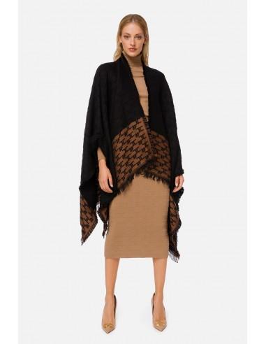 Elisabetta Franchi Two-coloured cape with monogram and fringes - altamoda.shop - MT01F06E2