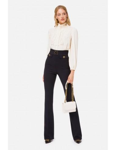 Pantalones de piel con el logo de Elisabetta Franchi - altamoda.shop - PA35106E2