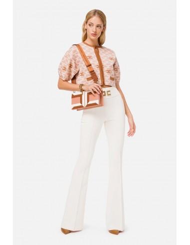 Elisabetta Franchi Pantalones de campana con logo bordado - altamoda.shop - PA35806E2