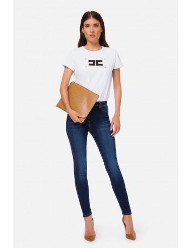 Elisabetta Franchi Calças de ganga de cintura alta skinny - altamoda.shop - PJ80S06E2
