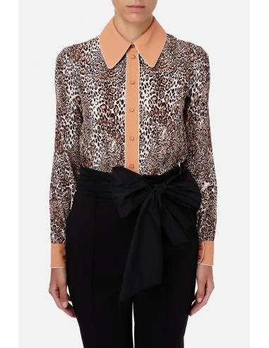 Blouse with animalier print and...