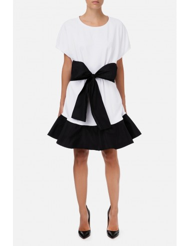 Fleece dress with bow and ruffles