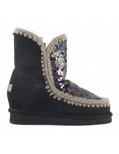 MOU Botas esquimales cortas con lentejuelas en cuña, negras, multicolores - altamoda.shop
