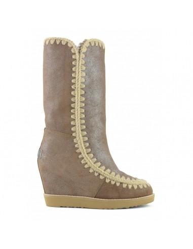 MOU Tall Eskimo Botas altas, dedo do pé francês, Pó rosa marrom - altamoda.shop
