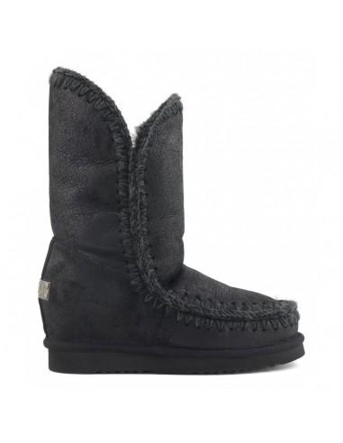 MOU Eskimo Bottes à semelles compensées à l'intérieur Hautes en couleur Noir craquelé - altamoda.shop