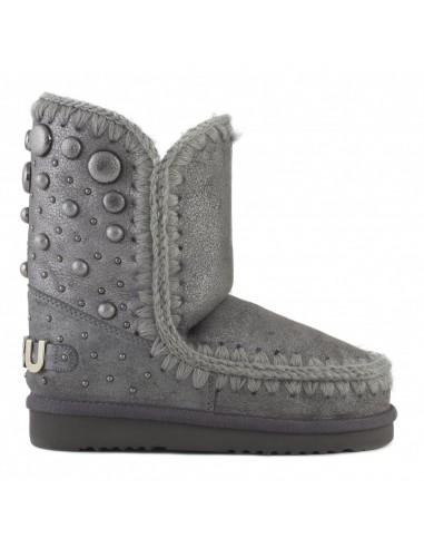 MOU Eskimo Boots 24 z tylnymi stadninami i dużym logo w kolorze kurzu i żelaza - altamoda.shop