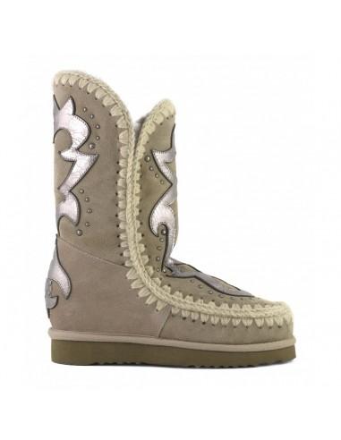 MOU Eskimo Stiefel mit Innenkeil und texanischem Aufnäher, Farbe: Elefantengrau - altamoda.shop