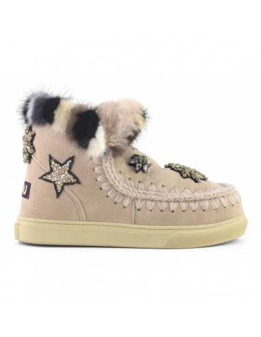 MOU Eskimo Sneaker Star Patches & Mink fur Trim in Rose Beige - altamoda.shop