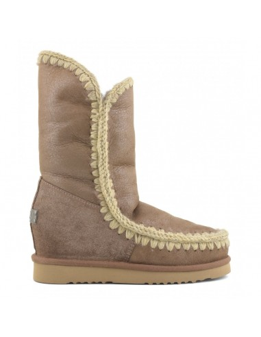 MOU Eskimo Inner Wedge Boots Tall in Dust Pink Brown - altamoda.shop