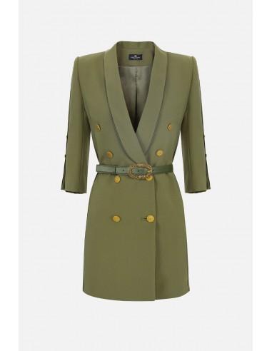 Elisabetta Franchi Dress with lapels and belt - altamoda.shop - AB04906E2
