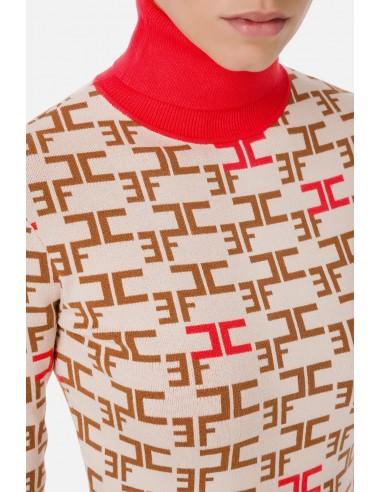 Mini vestido de gola rulê com logótipo