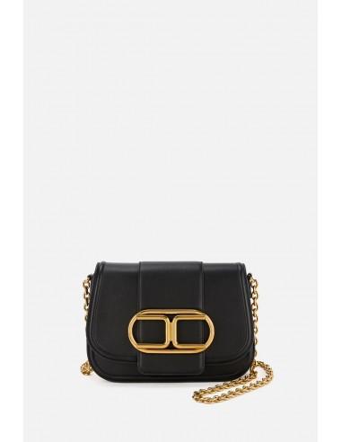 Elisabetta Franchi Shoulder clutch bag with golden logo - altamoda.shop - BS81A06E2