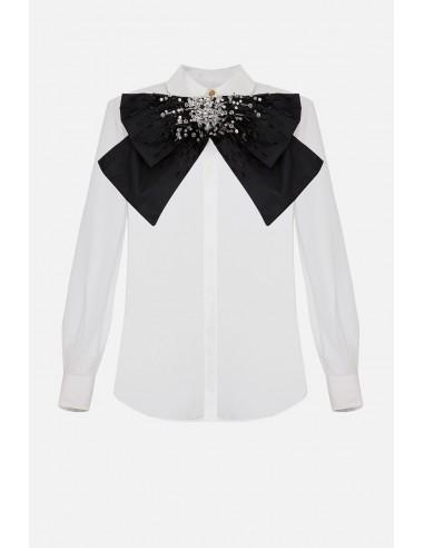 Elisabetta Franchi Organza blouse with maxi bow and rhinestones - altamoda.shop - CA28806E2