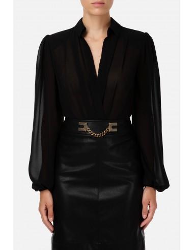 Bluse im Bodysuit-Stil mit Puffärmeln