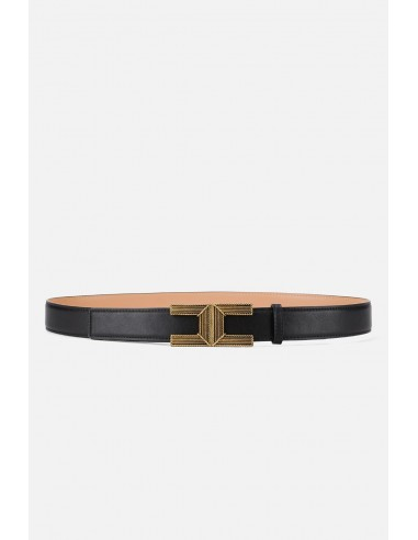 Elisabetta Franchi Belt with logo buckle in aged gold - altamoda.shop - CT35S06E2