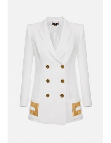 Elisabetta Franchi Double-breasted jacket with embroideries - altamoda.shop - GI93906E2