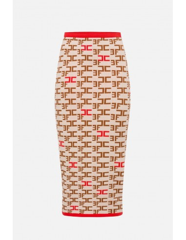 Elisabetta Franchi Knit calf-length skirt with logo print - altamoda.shop - GK22B06E2