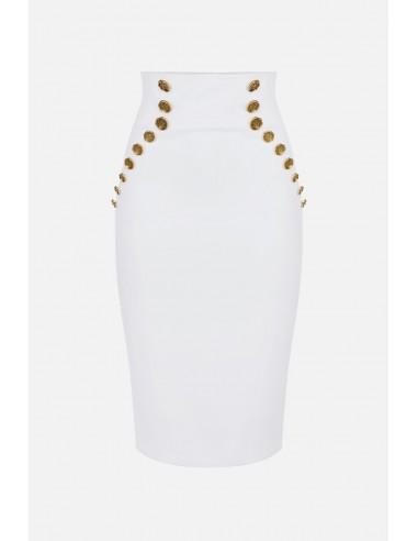 Elisabetta Franchi Kuitvormige rok met gouden knopen - altamoda.shop - GO42206E2