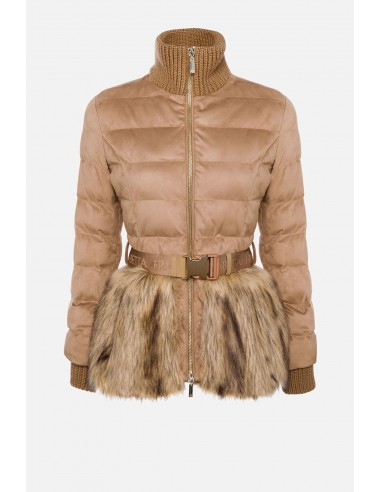 Elisabetta Franchi Gewatteerde jas met bont en riem - altamoda.shop - PI27H06E2