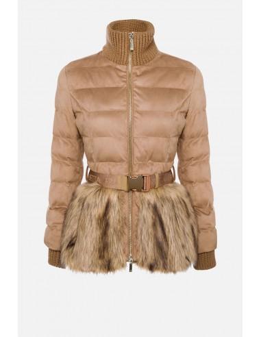 Manteau matelassé Elisabetta Franchi avec fourrure et ceinture - altamoda.shop - PI27H06E2