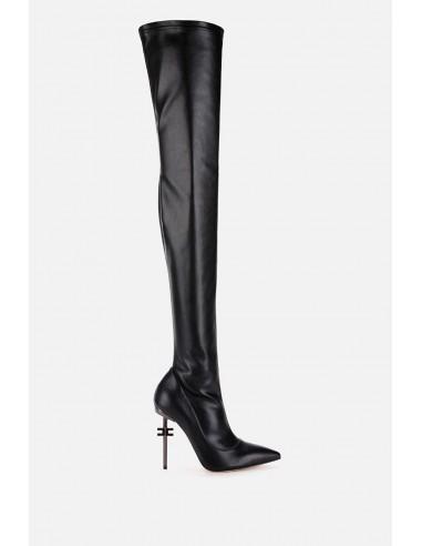 Elisabetta Franchi Buty na kolana z logo na pięcie - altamoda.shop - SA38B06E2