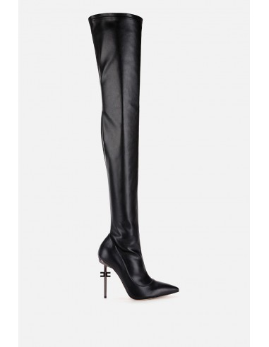 Elisabetta Franchi Over-the-knee boots with logo on the heel - altamoda.shop - SA38B06E2