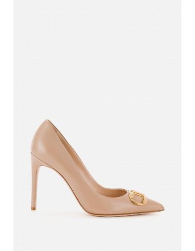 Elisabetta Franchi High Heels with golden logo - altamoda.shop - SA42L06E2