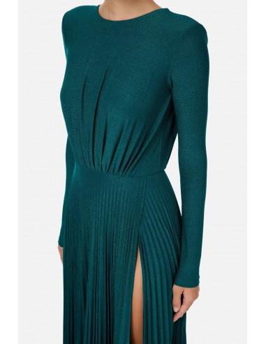 Lange geplooide jurk met splitjes