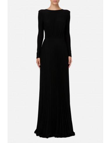 Długa plisowana sukienka z rozcięciami