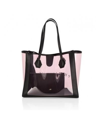 Bolsa de cuero y PVC rosa