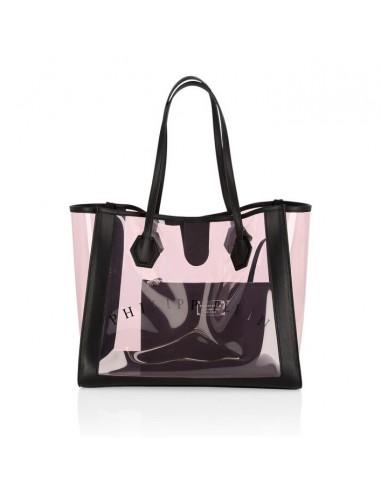 Torba na zakupy w skórze i różowym PVC Philipp Plein - altamoda.shop - P19A WBA0911 PTE100N
