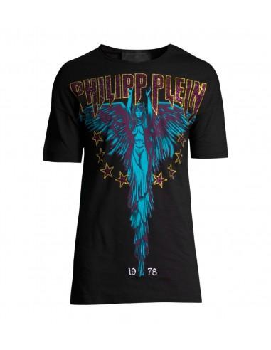 Philipp Plein Black Angel Rock T-Shirt mit schwarzem Engel - altamoda.shop - A18C MTK2760 PJY002N