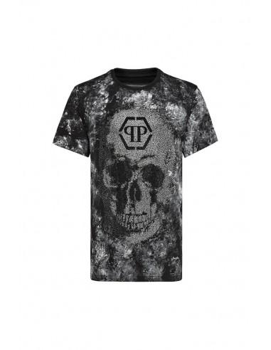 "T-Shirt ""Skull Total Crystals"" Philipp Plein chez altamoda.shop - A18C MTK2675 PJY002N"