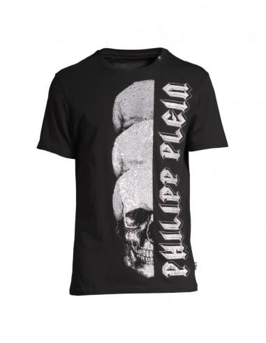 3 Schädel Kristalle T-Shirt Philipp Plein bei altamoda.shop - P18C MTK2145 PJY002N