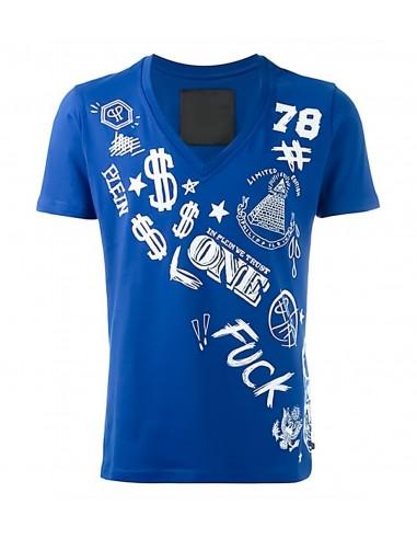 T-Shirt Geld in Blauw door Philipp Plein bij altamoda.shop - SS16 HM342568
