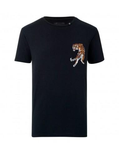 """T-shirt """"Light my Fire"""" met Tiger van Philipp Plein bij altamoda.shop - P18C MTK2026 PJY002N"""