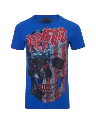 Tour T-Shirt in Dark Blue by Philipp Plein at altamoda.shop - SS16 HM342581-1