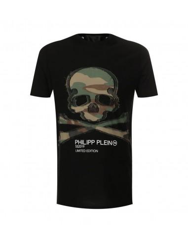 Militärisches Totenkopf-T-Shirt von Philipp Plein bei altamoda.shop - P19C MTK3188 PJY002N