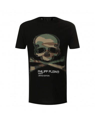 Military Skull T-Shirt by Philipp Plein at altamoda.shop - P19C MTK3188 PJY002N