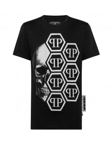 Czaszka Koszulka z 7 logotypami Philipp Plein na altamoda.shop - P19C MTK3339 PJY002N