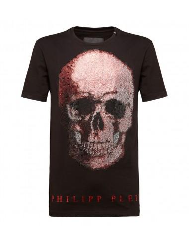 Koszulka z dwukolorową czaszką autorstwa Philippa Pleina w altamoda.shop - P18C MTK2117 PJY002N