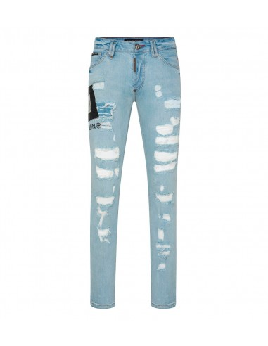 Philipp Plein Straight Cut Denim Jeans Dollar em altamoda.shop - P19C MDT1582 PDE004N