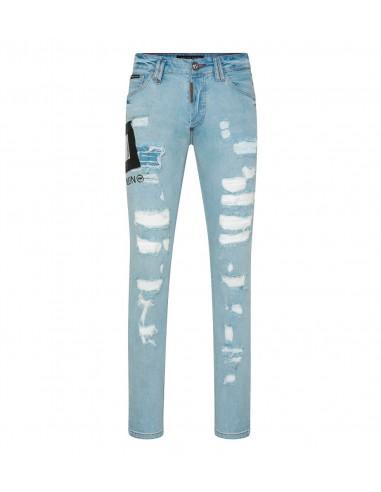 Dollar Philipp Plein en jean coupe droite chez altamoda.shop - P19C MDT1582 PDE004N