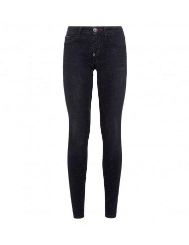 Philipp Plein Jeggings Jeans z drobnymi kryształami w altamoda.shop - P19C WDT1064 PDE004N