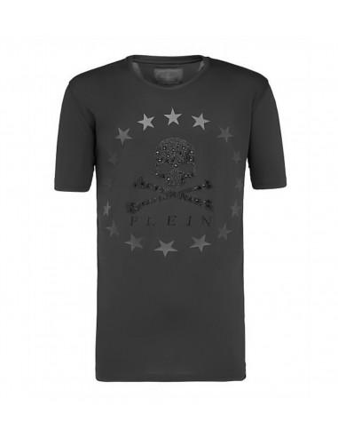 T-Shirt Philipp Plein Crâne et Cercle d'étoiles sur altamoda.shop - F18C MTK2519 PJY002N