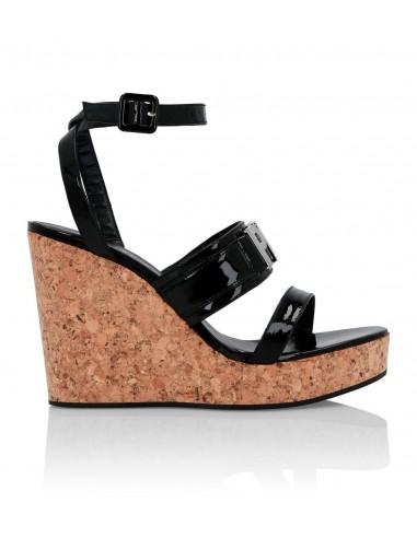 Philipp Plein Wedge Sandals mit Brandname em altamoda.shop - P19S WSA0294 PLE077N