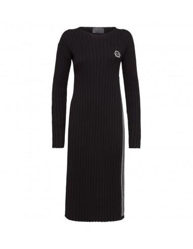 Philipp Plein Knit Day Dress Ocean On You em altamoda.shop - F18C WKG0179 PKN002N