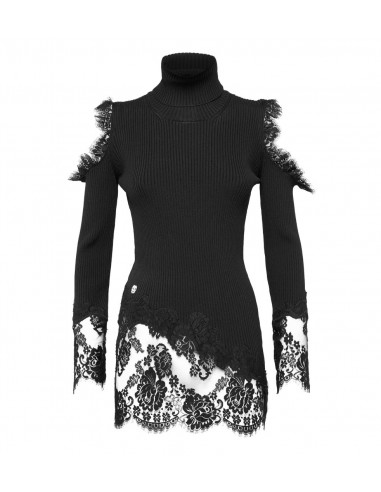 Philipp Plein Sweater with Turtleneck and Lace inserts at altamoda.shop - F18C WKK0108 PKN002N