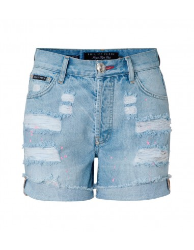 "Shorts en denim Philipp Plein ""Rich Bitch"" Fit chez altamoda.shop - SS16 CW550632"