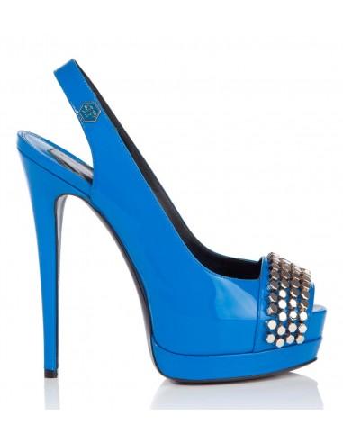 Zapatos de tacón abierto de Philipp Plein con remaches planos en altamoda.shop - SS16 SW020918